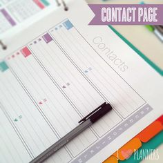 2015 Modern Planner Contact Page - Instant Download! PDF format ready to print at home!