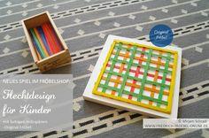 Muster aus bunten Streifen (farbige Holzspäne) des Flechtdesign Spiels Spielgabe 15 nach Froebel.
