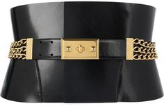 Alexander McQueen Chain-embellished leather belt