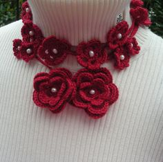 Handcrochet Flower Necklace/Lariat by MarKateLiz, a local DC Chevy Chase knit and crochet designer.