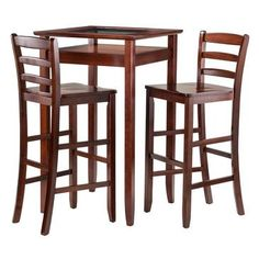 Winsome Wood Halo 3pc Pub Table Set with 2 Ladder Back Stools - 94386 from BEYOND Stores