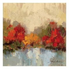 Trademark Fine Art 'Fall Riverside II' Canvas Art by Silvia Vassileva, Size: 24 x Brown Canvas Artwork, Canvas Prints, Design Fonte, Painting Prints, Fine Art Prints, Oil Paintings, Art Moderne, Autumn Art, Autumn Trees