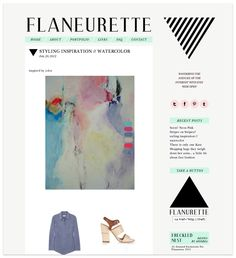 blog design // the flaneurette...I like the way they incorporated the nav bar and sidebar titles to match and bring a pop of color
