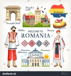 Romania collection of traditional objects symbols of country architecture food clothes , Dracula Castle, World Thinking Day, Flag Icon, Bucharest Romania, Pictures Images, Map Art, Girl Scouts, Travel Posters, Summer Fun