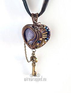 OOAK Purple steampunk heart pendant with key by ukapala on Etsy