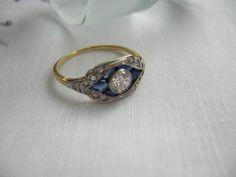 Circa 1880's Diamond and Sapphire engagement ring.