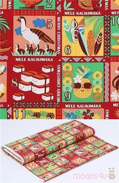 red cotton fabric with Xmas greetings from Hawaii, with colorful pineapple, tropical flowers, hula girl, nene national bird, surfboards etc. on green, yellow, red and peach background squares #Cotton #People #Letters #Numbers #Words #Christmas #USAFabrics Textiles, Kawaii, Peach Background, Xmas Greetings, Hula Girl, Christmas Fabric, Tropical Flowers, Fabric Patterns, Surfboard