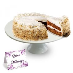 Carrot Cake Taste the freshness in every bite of this rich carrot cake. The delicious spice cake is speckled with freshly grated carrots, plump raisins and crisp walnuts and the two layers of moist cake are bound together with a delectably smooth cream cheese frosting#valentine#USA