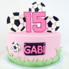 Pink girl soccer cake 15 The Effective Pictures We Offer You About Soccer Cake frosting A quality pi Bunny Birthday Cake, Soccer Birthday Cakes, Football Birthday, Soccer Ball Cake, Soccer Party, Soccer Cakes, Football Cakes, Volleyball Cakes, Mom Cake