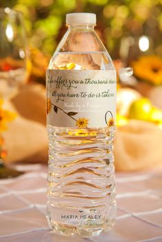 Water bottles at a Tuscany party {Made by a Princess} photos courtesy of @healeyme   Water bottle labels from @onlinelabels, design by @madebyaprincess