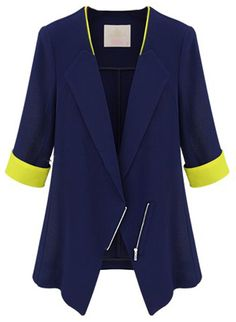 Blue Lapel Half Sleeve Zipper Blazer - Sheinside.com