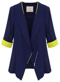 Blue Lapel Half Sleeve Zipper Blazer