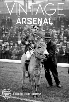 English jockey Sir Gordon Richards riding a donkey at the start of the North v South Country football match at Arsenal FC's ground, Highbury in north London, in aid of St Peter's Hospital, Covent Garden. 15th October 1928.