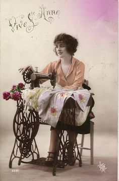 Vive St Anne Lady with Sewing Machine Tinted Photo Postcard CA 1920'S