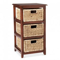 Storage Cabinet With Wicker Baskets
