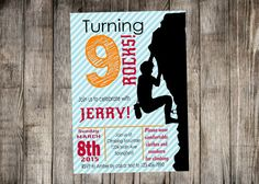 Rock Climbing Birthdaym Gray Stripe Birthday Party Printable Package - Print Your Own, Invitation Monkey Birthday Parties, 8th Birthday, Birthday Ideas, Rock Climbing Party, Personalised Party Invitations, Party Printables, Party Planning, Thank You Cards, Party Time