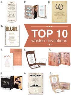 top 10 western themed wedding invitations!