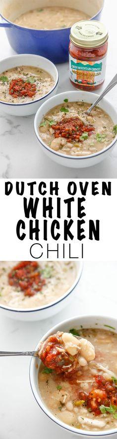Dutch Oven White Chicken Chili made with /greenmounta0082/ salsa!  via /thebrooklyncook/