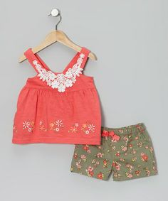 Take a look at this Pink Embroidered Tunic & Floral Shorts - Infant, Toddler & Girls by Nannette on #zulily today!