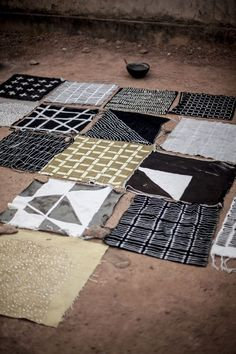 "Mud cloths from Mali. ""Graphic Africa cushions were designed by Senegalese textile designer Boubacar Doumbia using the bogalan technique of applying river mud to cotton cloth to create the design. The cushions were then made in Doumbia's studios in Mali, which are run as a social enterprise to train young people."" via deco mag"