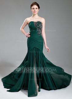 Trumpet/Mermaid Sweetheart Court Train Chiffon Evening Dress With Ruffle Beading Appliques Lace Sequins Split Front (017019743) - JJsHouse