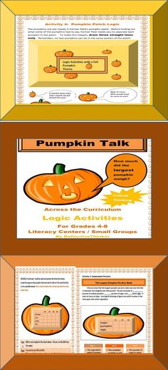 Problem Solving--The five pumpkin, fall or autumn themed, fun, critical thinking, math, and logic activities included in this 17-page packet can be used across the curriculum in Grades 4-8. All activities are in color and formated as printables. The five activities can be accomplished in five days in a literacy or math center, in small or large collaborative groups, or independently. #fall #autumn #pumpkin #criticalthinking