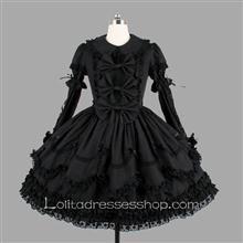 Black Cotton Turndown Collar Long Sleeve Knee-length Bowknot Gothic Lolita Dress