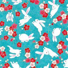Papier Japonais / Sérigraphie lapin et fleur sur fond turquoise