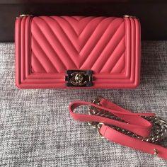 6369e8acd356 Chanel Chevron Calfskin Medium BOY CHANEL Handbag with Gold-tone Metal  Indian Red 2018 Chanel