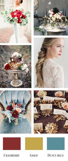 Cranberry, gold, and dusty blue wedding color palette