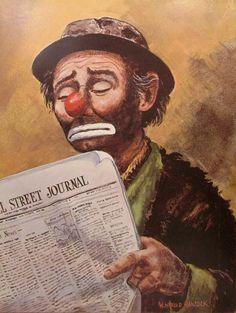Vintage Emmett Kelly CLOWN Reading Wall by WHaroldHancockArt