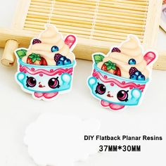 50pcs/lot Cartoon Shopping Kawaii Ice Cream Resin Flatback for Hair Bows Planar Resin Crafts for DIY Phone Decorations