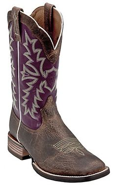 Ariat® Sweetwater™ Men's Earth Brown with Fig Purple Wide Square Toe Western Boot | Cavender's Boot City