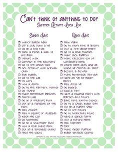 Summer activity idea list
