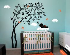Modern Baby Nursery Wall Decal with Birds Leaves and by StudioQuee, $79.00