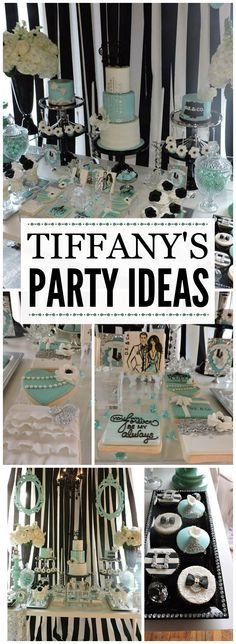 Here's a stylish and elaborate Tiffany's party for a husband and wife! See more party ideas at CatchMyParty.com!