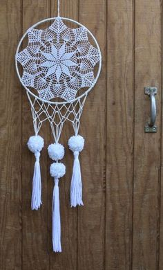 12 white & neutral tone, crocheted, lace dreamcatcher made with unbleached, hand-knotted cotton, salvaged materials and decorated with pom poms &