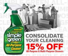 This month only! Save 15% on all #SimpleGreen All-Purpose & Multi-Purpose Cleaners at http://buy.simplegreen.com/all-multi-purpose-cleaners. Exp. 10.01.14