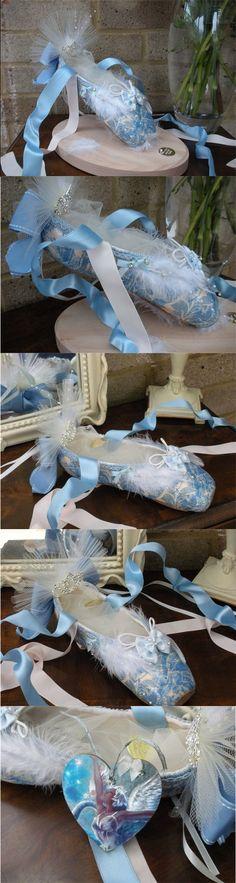 Swan Lake Ballet Shoe Sculpture - Beautiful Ballet Shoe with Goose feathering, powder blue trim, diamante flavouring, satin ribbons, lace and a princess tiara £125