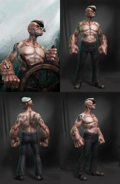 Popeye by Lee Ramao Zeichnungen Comic Books Art, Comic Book Characters, Comic Art, Popeye Le Marin, Character Art, Character Design, Popeye And Olive, Bd Art, Popeye The Sailor Man