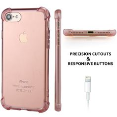 PC TPU Bumper Anti-Scratch Slim Case Cover for Apple iPhone 7 - ROSE GOLD Compatible with Apple iPhone 7 2016 (Jet Black, Black, Silver, Gold, Rose Gold). Transparent, simple design enhances its most natural beauty. Anti-scratch hardshell PC and flexible TPU bumper offer maximum protection. Reinforced corners protect against shocks or drops. Featuring raised bezels to protect screen and camera from scratches when placed face down. Precision cutouts for easy access to all ports, buttons…