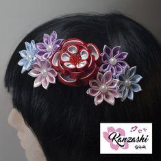Pente para cabelo - Kanzashi. Modelo Iris. Nice, Japanese Hairstyle, Hair Accessories, Embellishments, Colors, Templates, Princesses, Kanzashi Flowers, Nice France