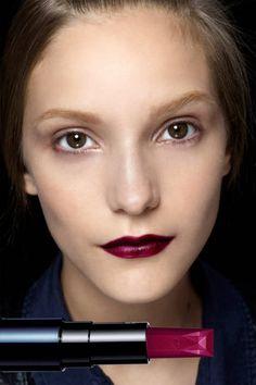 MOST POPULAR: BORDEAUX LIPS  Seen At: Rochas    Lucia Pieroni created blackberry lips with Clé de Peau Beauté Lipstick in R10