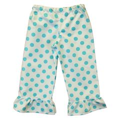 Laney Loops - Aqua Blue Polka Dot Single Ruffle Cotton Pants, $19.99 (http://www.laneyloops.com/aqua-and-white-polka-dot-single-ruffle-cotton-pants/)