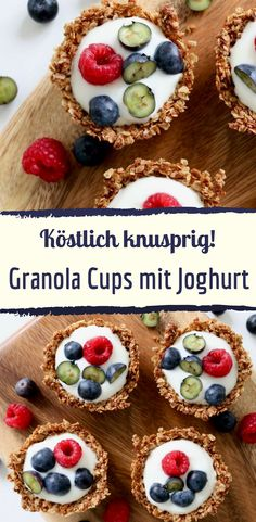Try these creative granola cups with yogurt and berries for breakfast. Try these creative granola cups with yogurt and berries for breakfast. Yogurt Recipes, Keto Recipes, Dessert Recipes, Vegetarian Breakfast, Healthy Breakfast Recipes, Oatmeal Cups, Party Platters, Vegetable Drinks, Muesli