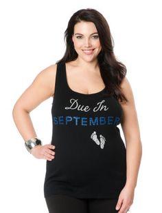 Motherhood Maternity Due In September Plus Size Maternity Tank Top