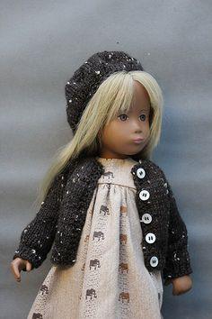 """no nose"" Götz Germany Sasha doll. Muriel Makes' Cardigan and an elephant print dress Sasha Doll, Vinyl Dolls, Beautiful Friend, Elephant Print, Girl Doll Clothes, Smock Dress, Fashion Studio, Vintage Dolls, Baby Knitting"