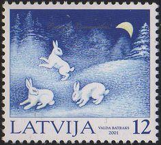 Latvian postage stamp. Great Latvian countryside winter scene...