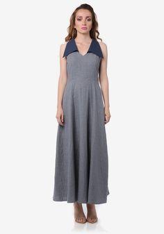 Grey Checked Maxi Dress