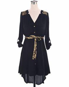 High Low Leopard Print Dress with belt